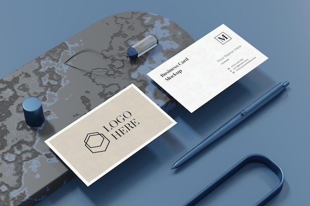Elegancki projekt makieta wizytówki w renderowaniu 3d