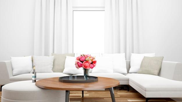 Elegancki salon z białą sofą i środkowym stołem