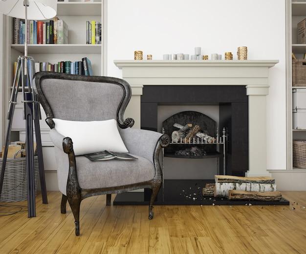 Elegancki salon z fotelem, kominkiem i ścianą makiety