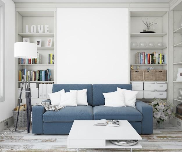 Elegancki salon z sofą i ścianą makiety