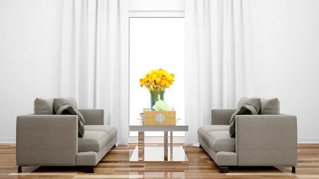 Elegancki salon z szarą sofą i środkowym stołem