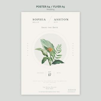 Elegancki ślub plakat a4 szablon