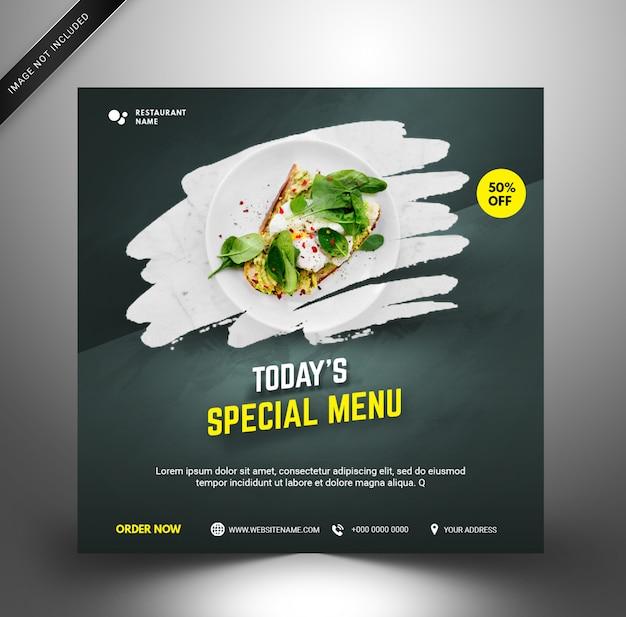 Elegancki szablon mediów społecznościowych. restauracja z jedzeniem