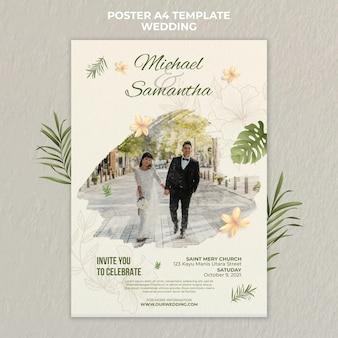 Elegancki szablon plakatu ślubnego