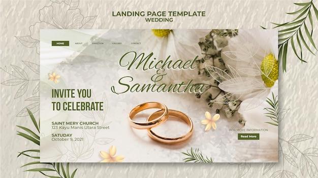 Elegancki szablon strony docelowej ślubu