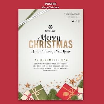 Elegancki szablon wydruku plakatu wesołych świąt