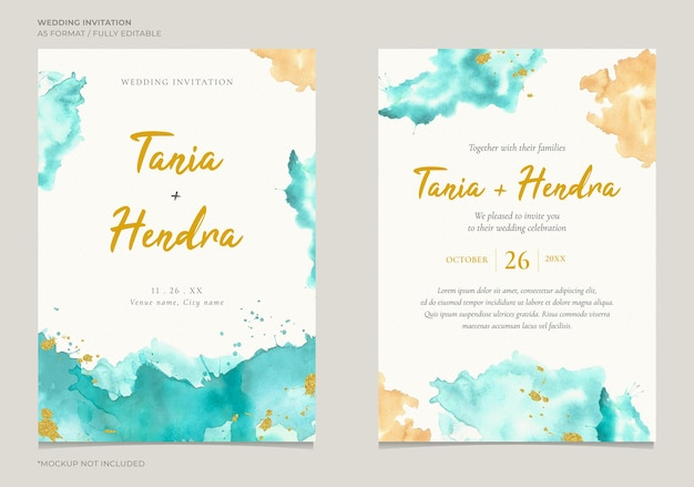 Elegancki szablon zaproszenia na ślub z abstrakcyjną teksturą koloru wody