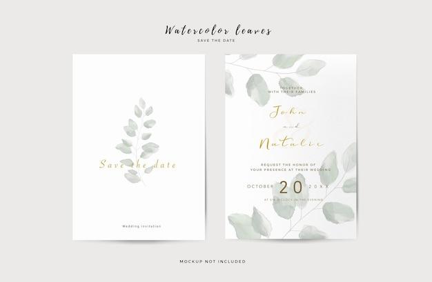 Elegancki szablon zaproszenia ślubne z liśćmi akwarela