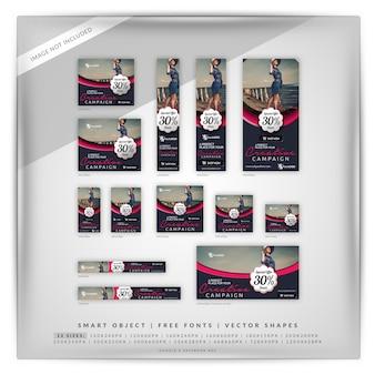 Elegancki zestaw banner marketing fashion & sale