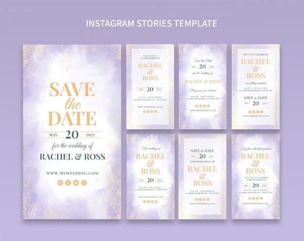 Eleganckie historie na instagramie na zaproszenie na ślub