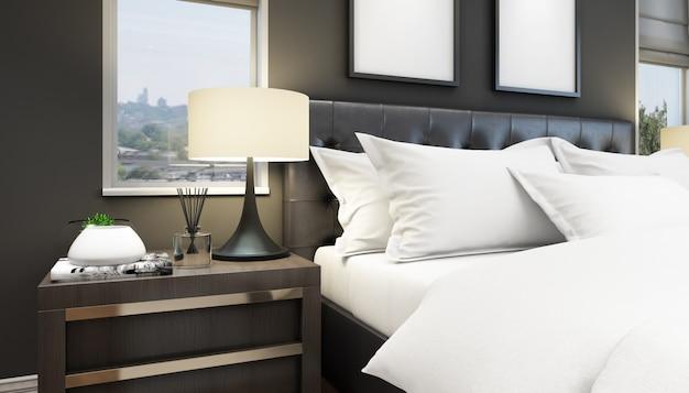 Eleganckie łóżko i stolik nocny