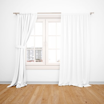 Eleganckie okno z białymi zasłonami, drewniana podłoga