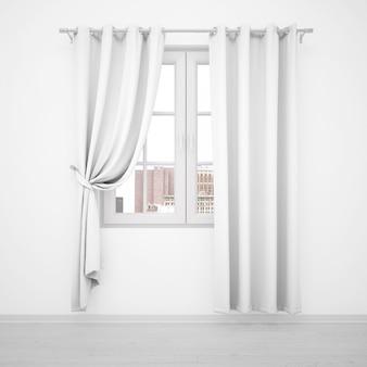 Eleganckie okno z białymi zasłonami na białej ścianie