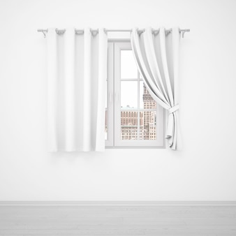 Eleganckie okno z białymi zasłonami