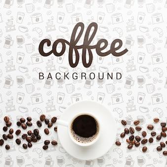 Eleganckie tło z smaczną filiżankę kawy