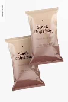 Eleganckie torby na chipsy makieta, widok z przodu