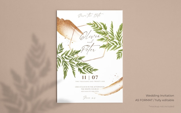 Eleganckie zaproszenie na ślub z pięknymi liśćmi