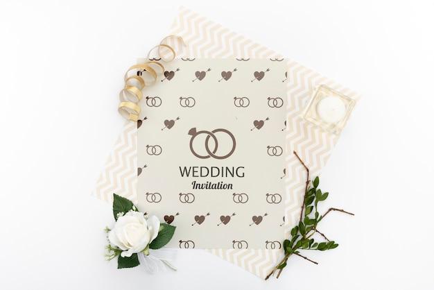 Eleganckie zaproszenie na ślub z różą