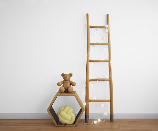 Elementy dekoracyjne ze schodami, ramą i zabawkami