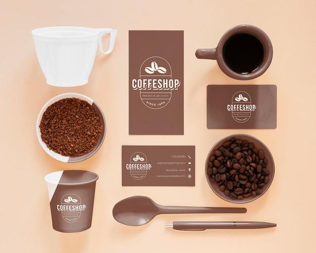 Elementy marki kawy powyżej widoku
