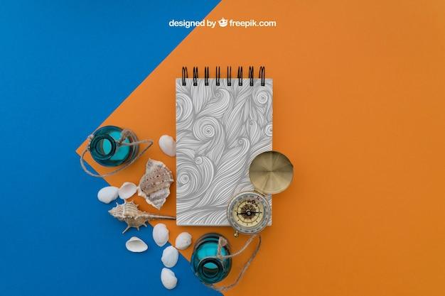 Elementy plażowe z notatnikiem