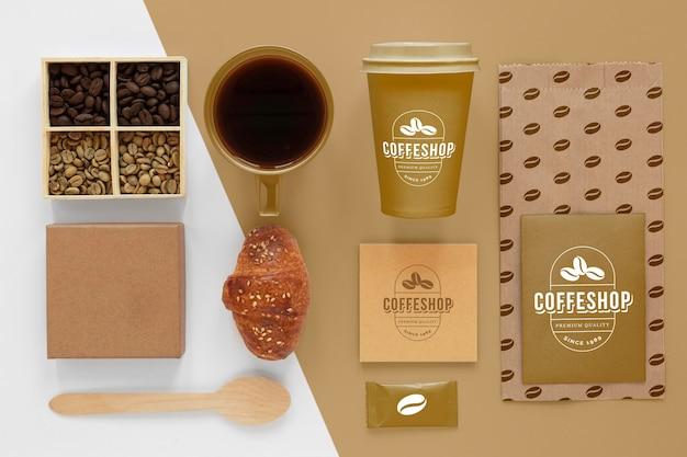 Elementy promujące kawę na płasko