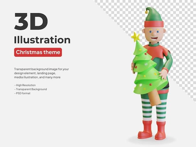 Elf trzymający choinkę sosny ilustracja 3d