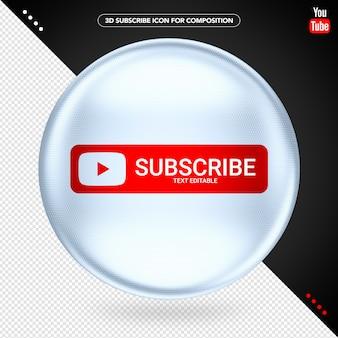 Elipsa 3d biały youtube subskrybuj