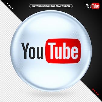 Elipsa biały 3d youtube do kompozycji