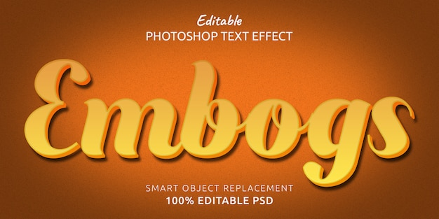 Embogs efekt edytowalnego stylu tekstu
