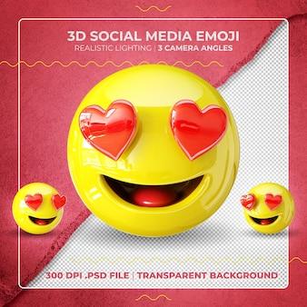 Emoji 3d na białym tle z oczami w kształcie serca