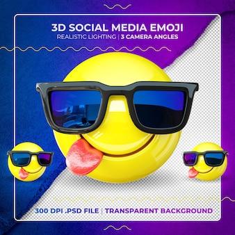 Emoji 3d na białym tle z okularami przeciwsłonecznymi