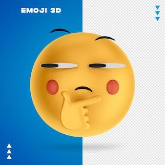 Emoji 3d w renderowaniu 3d na białym tle