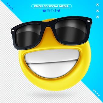 Emoji 3d z czarnymi okularami przeciwsłonecznymi i wesołym uśmiechem