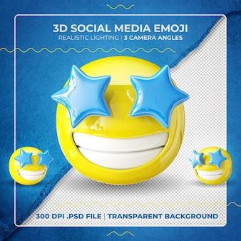 Emoji 3d z rozgwieżdżonymi oczami