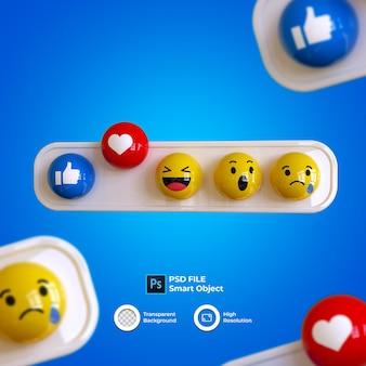 Emoji 3d zestaw mediów społecznościowych na białym tle