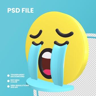 Emoji monety renderowania 3d na białym tle głośno płacząca twarz