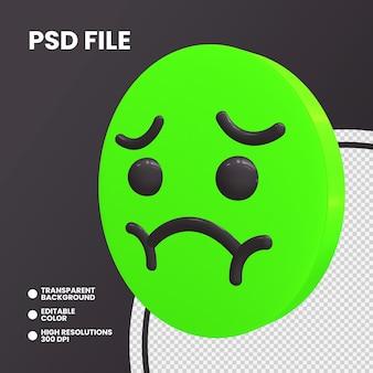 Emoji monety renderowania 3d na białym tle mdłości twarzy