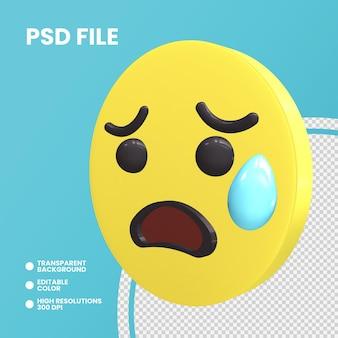 Emoji monety renderowania 3d na białym tle smutna, ale z ulgą twarz