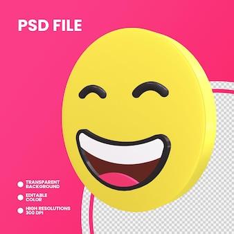 Emoji monety renderowania 3d na białym tle uśmiechnięte oczy