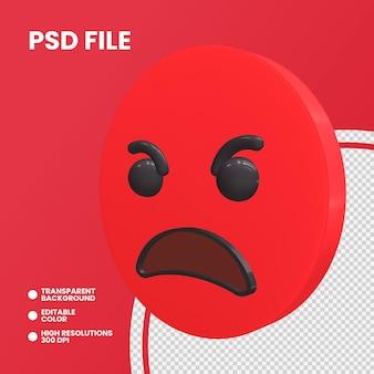 Emoji monety renderowania 3d na białym tle zły twarz