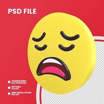 Emoji monety renderowania 3d na białym tle zmęczona twarz