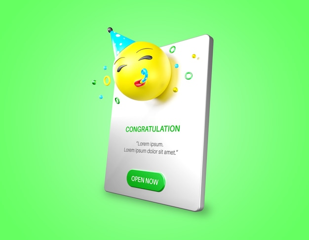 Emoji party w makiecie powiadomienia na białym tle