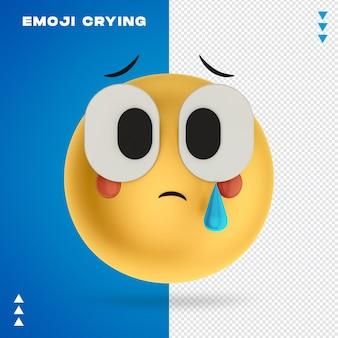 Emoji płacze renderowania 3d na białym tle