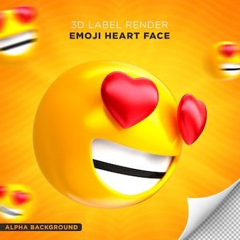 Emoji twarz serce renderowanie 3d