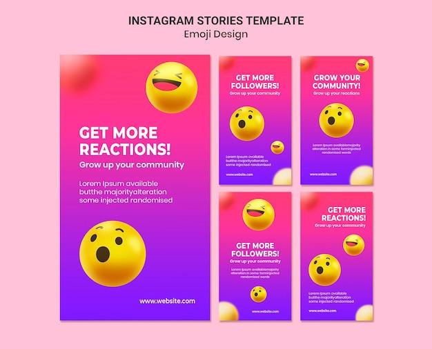 Emotikony projektują historie na instagramie