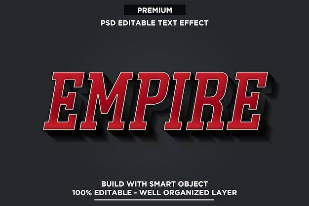 Empire 3d red font style efekt tekstowy