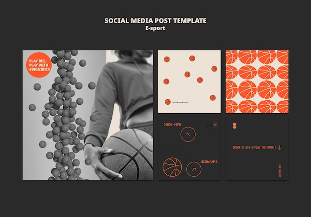 Esportowy projekt szablonu postu w mediach społecznościowych