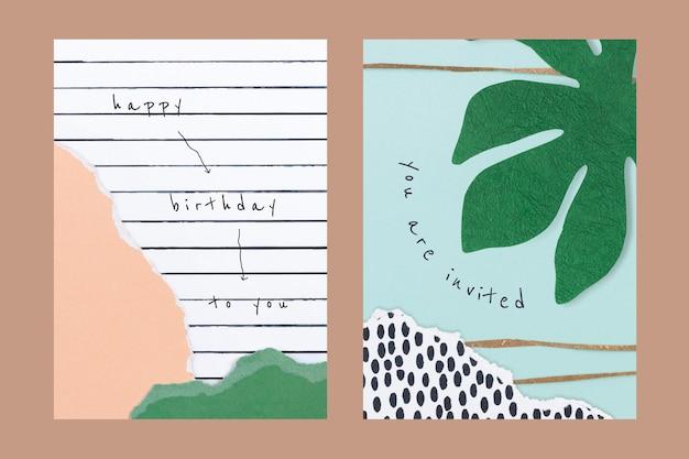 Estetyczne papierowe szablony kolaży psd na zaproszenie