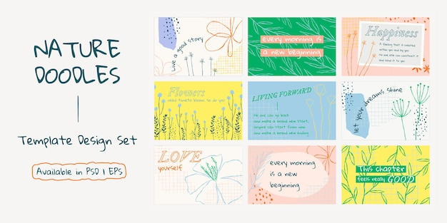 Estetyczny kwiatowy baner szablon psd z pozytywnym zestawem cytatów
